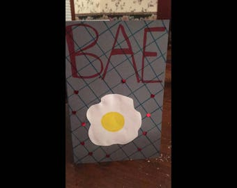 "Bae: bacon &eggs ""Malentine"" Valentine's Day card for men"