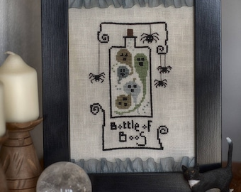 Bottle of Boos by TheWitchyStitchyRabbit  PDF Halloween Cross Stitch Pattern
