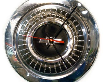 1966 - 1967 Chevy Chevelle and Chevrolet Nova Hubcap Clock - Classic Car Hub Cap Wall Decor - mens office clock