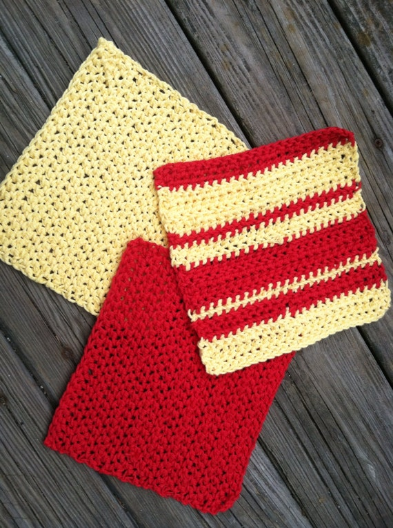 Custom Set of Three 100% Cotton Reusable Dish Cloths in Your Colors