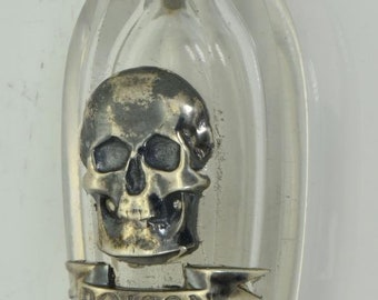 ONE OF A KIND important antique Victorian Skull silver&crystal Poison bottle