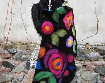 Felted Scarf Handmade, Felted With Colorful Roses Black Floral Wool Scarf, Handmade Christmas Gift For Women