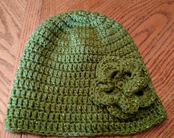 Adult size crocheted winter hat