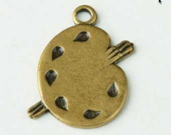 Painters pallet charm, Brass antiqued, sold 6 each 15149