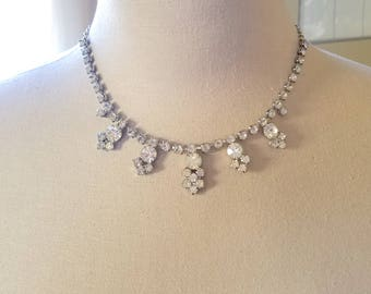 Vintage Rhinestone Choker/Necklace with Droplets
