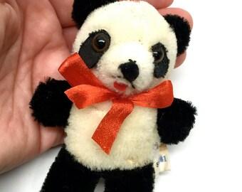 Vintage Panda, Miniature stuffed Animal, Mohair, Ornament, China