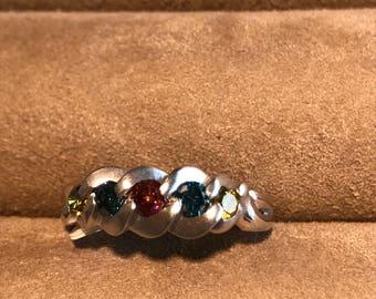 14Kt White Gold Rainbow Diamond Ring