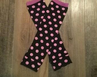 Baby Girl Leg Warmers Lavender Glitter Dots