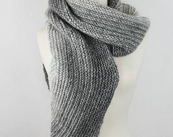 Super Soft Gray Striped Scarf