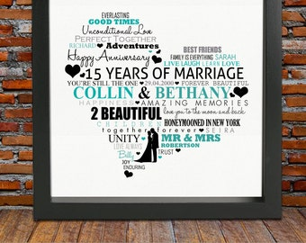 Personalized 15th Anniversary gift -15th wedding anniversary gift, 15th wedding anniversary, 15th anniversary gift,15 years anniversary gift