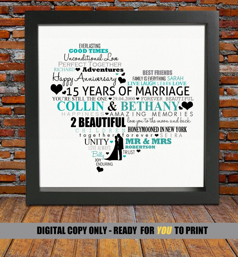 Personalized 15th Anniversary Gift 15th Wedding Anniversary