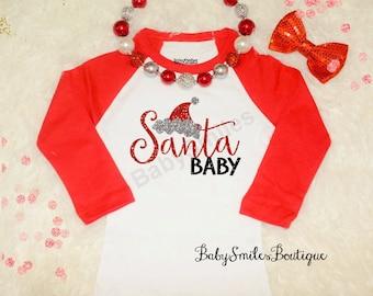 Santa Baby Holiday Shirt Christmas Shirt Funny Shirt Kids Shirt Raglan Shirt Baby Shirt Adult Shirt Glitter Shirt Santa Shirt Santa Hat