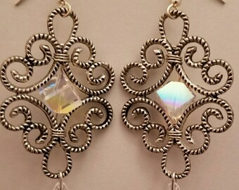 E93314 Swarovski crystal chandelier style earrings