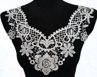 Black White Floral Lace Necklace Collar, Venice Lace Crochet Yoke Collar