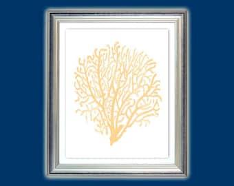Sea fan art, Gorgonian art, Seaweed poster, Gorgonian print, Nautical art, Beach house or Bathroom decor, Nursery art, Instant download.