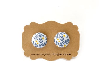 Blue and Yellow Floral Button Earrings, Fabric Covered Button Earrings, Spring Studs, Floral Studs, Nickel-free Earrings, Girl's Earrings