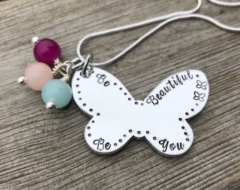Hand Stamped Personalised Butterfly Pendant, Necklace 'Be Beautiful, Be You' Gift for her, Mother's Day gift, butterfly necklace