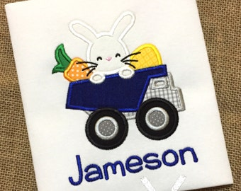 Easter Dump Truck Shirt / Personalized Boy Easter Shirt / Bunny Dump Truck Applique / Toddler Easter Outfit / Baby Easter Bodysuit