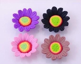 Handmade Fimo polymer clay sunflower bead Set of 8 Pieces FM752