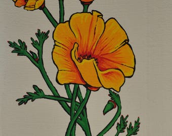 California Poppy - Poppies - Flower - Floral - Acrylic Painting - Poster Print