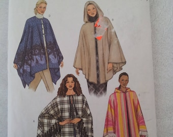 Butterick 3975 sewing pattern makes Misses Ponchos in four styles makes sizes XS-S-M