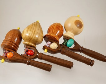 Toy tops. Wood spinning tops with handle. Handmade heirloom toy. Collection of tops.