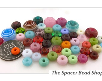 CRAYON COLORS Rainbow SINGLE Beads Assortment Lampwork Spacers Glass Handmade - The Spacer Bead Shop