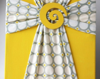 Handmade Fabric Cross Canvas Wall Hanging Yellow & Gray