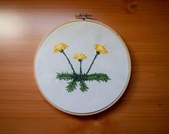 Dandelion embroidery hoop