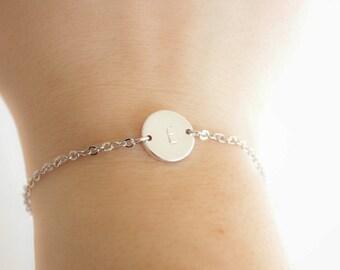 Silver initial bracelet, coin bracelet, letter bracelet, disk bracelet, bridesmaids gift, Wedding favor, mothersday present, Christmas gift