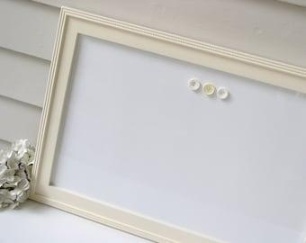 Elegant Magnetic Dry Erase Whiteboard - Bulletin Board 15 x 22 Magnet Board with Handmade Hardwood Frame in Pale Yellow Cream