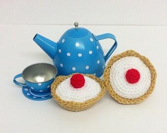 Play Food Crochet Bakewell Tart set of 2, Gift, Amigurumi