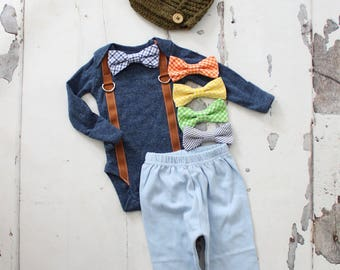 Newborn Baby Boy Coming Home Outfit Set up to 3 Items. Suspender Bow Tie Bodysuit, Pants, Leg Warmers & Knit Newsboy Hat Easter Steele Slate