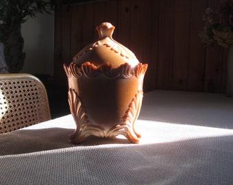 Chocolate Caramel Glass Candy Box Greentown Co. 1900-01 Jar Slag Caramel Leaf Bracket pattern Art Glass