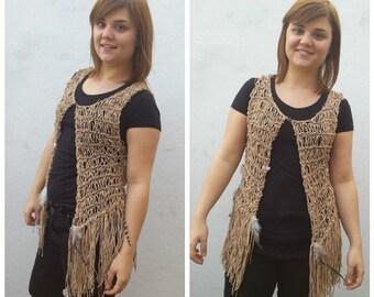 Beige faux leather vest, knit vest, faux leather, hippie vest, fringe vest, vest with fringes, faux suede vest, festival, hippie fashion