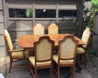 Vintage Mid Century Wood Dining Room Table Set With 6 Chairs In Original  Gold Upholstery
