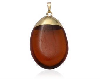 Brown Quartz Pendant Without Chain in Gold-tone