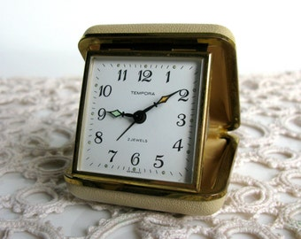 Mid Century / Modern / Germany / Tempora / Working / Travel Alarm / Mechanical / Alarm Clock / Made in Germany / Leather Boxed/ Convex Glass
