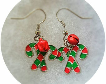 Candy Cane Earrings with Bells