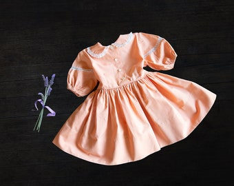 Vintage Baby Girl Peach Dress - c 1960s - Kate Greenway Frock