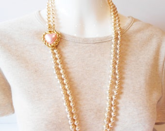 Pearl Necklace, Vintage Joan Rivers Necklace, Vintage Pearls, Double Strand Pearls, Pink Heart Trim, Opera Length