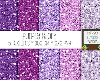 SALE - Glitter Paper Textures - Digital Scrapbooking Cards Invitations - High Resolution - Purple Glory - 300 dpi - CU OK