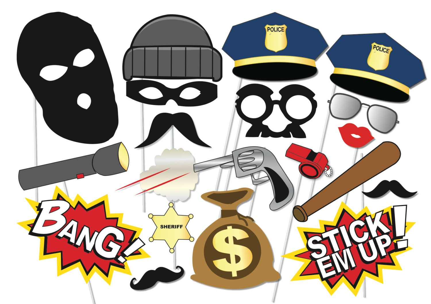cops and robbers party photo booth props set 20 piece
