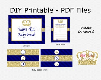 Name That Baby Food Baby Shower Game - Crown - Navy Blue & Gold Glitter - Little Prince Baby Shower - PRINTABLE - INSTANT DOWNLOAD