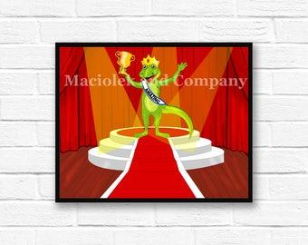 Iguana, Winner, Trophy, Children's Book Art, Wall Art, Nursery Room Art, instant download, digital print, digital art, 8x10