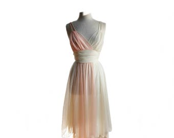 Vintage 60s pink & ivory chiffon gown by Vanity Fair/ semi sheer night gown/ lingerie