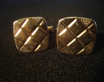 Vintage gold tone cufflinks square textured design rounded corners