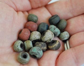 Handmade Ceramic Beads - Round Beads - Chocolate Stoneware Clay - Rustic Glazes - Jewelry Supplies - Made to Order - Marsha Neal Studio