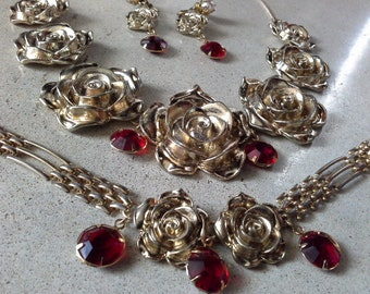 Vintage Germany Rose Parure Gold Tone & Ruby Glass Crystals Necklace Bracelet Earrings stamped Germany