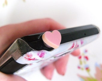 Cute Pale Pink Heart Phone / Headphone Dust Plug, Girly, Pretty, Blackberry, MP3, Iphone, Android, HTC, Port, Quirky, Cellphone Accessory,